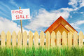Suburban residential realty for sale with tablet Royalty Free Stock Image