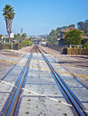 Suburban Train Tracks Stock Photo