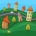 Suburbs and houses on background of the nature hills Royalty Free Stock Photography