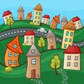 Suburbs and houses on background of the nature hills Stock Images