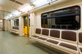 Subway car interior view of a Royalty Free Stock Photos