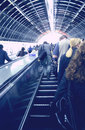 Subway escalators people using in underground tunnel in london Royalty Free Stock Photography