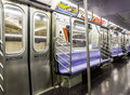 Subway inside an empty new york city train Royalty Free Stock Images