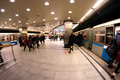 Subway moscow crowd urban rush hour transportation scene station vystavochnaya interior with trains and people in russia Royalty Free Stock Image
