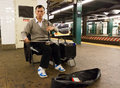 Subway musician in new york Royalty Free Stock Images
