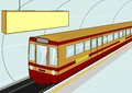 Subway station illustration of a electric train standing at the vector Stock Images
