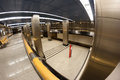 Subway station moscow an interior of a in russia with arriving train shot with fish eye lens Royalty Free Stock Photos
