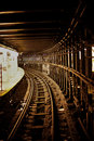 Subway track view along the of a new york line Stock Photos