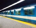 Subway train in montreal station and with motion blur photo taken with iphone Stock Photo