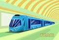Subway tram modern city public transport underground rail road station flat vector illustration Stock Photography