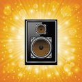 Subwoofer colorful illustration with on abstract sun background for your design Royalty Free Stock Photo