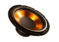 Subwoofer speaker big orange isolated from the background Royalty Free Stock Images