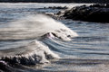 Subzero wave rolling on lake michigan shore waves the Royalty Free Stock Image