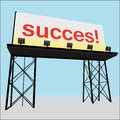 Succes billboard clear panel on black construction Stock Images