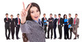 Succesful business woman and her victorious team Royalty Free Stock Images