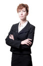 Success arms folded short hair business woman Stock Photo