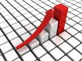 Success bar chart diagram with red top and growing arrow d Stock Photos