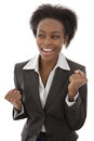 Success black businesswoman satisfied isolated on white backgro background happy day Stock Image