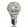Success bulb related color words over on white background Stock Image