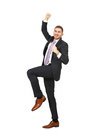 Success business cheering man full body portrait Royalty Free Stock Photography