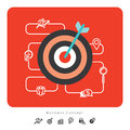 Success Business Concept Icons with Target Illustration Royalty Free Stock Photo