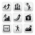 Success in business self development buttons set vector of people training for isolated on white Royalty Free Stock Images