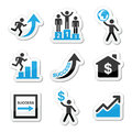Success in business self development icons set vector labels of people training for isolated on white Royalty Free Stock Photography