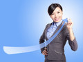 Success business woman draw arrow Royalty Free Stock Image
