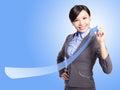 Success business woman draw arrow