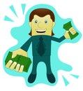 Success Businessman Giving Money