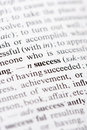 Success close up image showing the dictionary definition of the wordsuccess Stock Photos