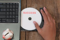 Success concept with compact disk and piggy bank Royalty Free Stock Photos
