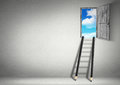 Success creative concept, stairs from pencils to sky Royalty Free Stock Photo