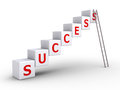 Success cubes and a ladder d forming word leaning on the last cube Stock Photo