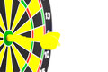 Success: dartboard and darts in bulls-eye Royalty Free Stock Photo