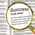 Success Definition Magnifier Showing Achievements Royalty Free Stock Photo