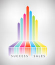 Success electronic commerce concept vector illustration of rainbow arrows up from colorful barcode showing successful e sales Stock Images