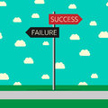 Success and failure choice sign roads to challenge faith motivation concept flat style eps vector illustration no Royalty Free Stock Images