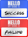 Success, failure red and blue name tags Stock Photo