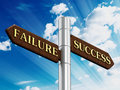 Success and failure road signs Royalty Free Stock Photo