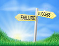 Success or failure sign concept with a choice to make Royalty Free Stock Photo