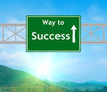 Success green road sign concept with resplendent clouds and sky Royalty Free Stock Photography