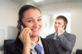 Success happily smiling women talking on the phone Royalty Free Stock Photo
