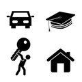 Success icons over white background vector illustration Stock Image