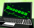 Success On Laptop Showing Solutions Stock Photography
