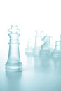 Success and leadership concept, glass chess king Royalty Free Stock Images