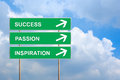Success passion and inspiration on green road sign with blue sky Royalty Free Stock Photo