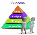 Success pyramid shows accomplishment progress showing or successful Stock Photo