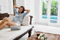 Success, Relaxation. Woman Relaxing After Successful Business Deal Royalty Free Stock Photo