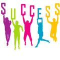 Success representation with colored people silhoue silhouettes jumping Royalty Free Stock Photo